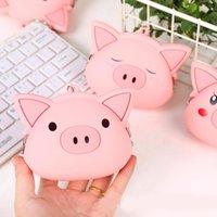 카와이이 핑크 돼지 여성 실리콘 코인 가방 지갑 클램프 변경 지갑 지갑 키즈 소녀 여성 미니 핸드백 키 체인 선물