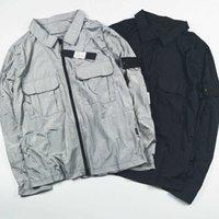 Erkekler Naylon Yaka Boyun Ada Ceket Nakış Kol Bandı Ceketler Çift Cep Taş Tasarımcı Dış Giyim Ceket CP110