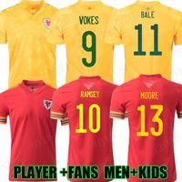 2021 Galler Futbol Formaları Ulusal Takım Ev 21 22 Moore Balya James Wilson Ramsey Erkek Çocuk Futbol Gömlek Allen Vokes Roberts Camiseta Üniforma Fanlar Oyuncu Sürümü