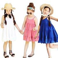 Vidmid летние девочки платье полосатый лук принцесса повседневная без рукавов для детей хлопка одежда P495 210802