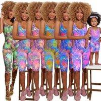 여름 어머니 소녀 가족 민소매 jumpsuit 엄마와 딸 Romper 여성 아기 소녀 패션 가족 일치 복장 옷 HH42811