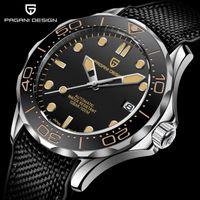 Дизайн мужские механические часы мужчины автоматические роскоши 100 м водонепроницаемые сапфировые стекла кожаные резиновые наручные часы PD-1667