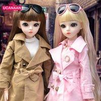 Ucanaan BJD Кукла 60 см 1/3 Мода Девушки SD Куклы 18 Шал Соединенная Кукла с нарядами Одежда набор Обувь Парик Макияж Детские игрушки 210714