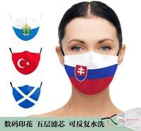 Bandera nacional 3D Impresión digital Adulto y máscara protectora para niños lavable con PM2.5 para evitar que Haze Frrk