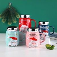 Christmas Mug With Lid Ceramic Water Cup Santa Embossed Cartoon Mugs For Adult Children 550ml LLD10327