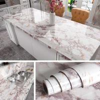Muurstickers Badkamer Verwijderbaar Zelfklevend Wallpaper Voor Keuken Tegenbladen Peel en Stick Kast Plankvoering Vinyl Contactpapier Marmeren A0603