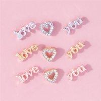 Romantic LOVE YOU Heart Stud Earrings For Women Rhinestone Hearts Letter Cartilage Earring Set Female Jewelry Gift Wholesale