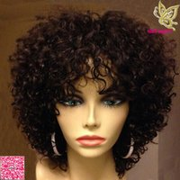 Short Kinky Curly Lace Front Human Hair Wigs With Bangs Peruvian Virgin Hair Glueless Full Lace Human Hair Wig For Black Women Stlnx
