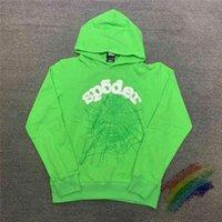 الأخضر رغوة الطباعة sp5der شاب البلطجة 555555 ملاك هوديي الرجال النساء العنكبوت شبكة نمط البلوز بلوزات البلوز