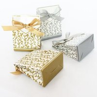 New 10pcs Creative Golden Silver Ribbon Wedding Favours Party Gifts Candy Paper Box Cookie candies gift bags Event parties Supplies