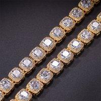 Hip Hop Cubo Quadrado Pedras Cadeia Bracelete para Homens Mulheres Gold Prata Cor Micro Pave Cubic Zircon 10mm 290 J2