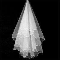 Bridal Veils Pearl Decorated Shoulder Length Veil Simple White Cut-Edged Wedding Veu De Noiva Accessoire Mariage