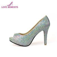 Silver Crystal AB Wedding Dress Shoes Peep Toe Platforms Bridal Mother Of The Bride Rhinestone Prom Pumps