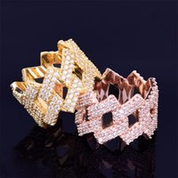 Miami Cuban Chain Men's Ring Gold Silver Iced Out Full Zircon Hip Hop RING Rock Jewelry 2966 Q2