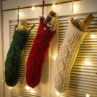 Natal malha meias decoração festival presente saco lareira xmas árvore pendurado ornamentos decoração vermelho branco christmas meia 46cm hwf7023