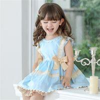Çocuk İspanyol Elbiseler Çocuklar için Prenses Giyim Doğum Günü Partisi Elbise Yay Dantel Bebek Kız Butik Frocks W1227 2117 Q2