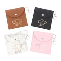 Storage Bags Portable Mask Bag PU Leather Dustproof Clip Reusable Masks Container With Keychain Face Holder