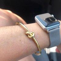 Bangle Trendy Round Circular Open Knot Cuff Bracelets For Women Elegant GoldColor Jewelry Luxury Designers Armband