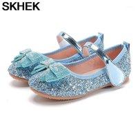 SKHEK Girls Bling Shoes Новый летний малыш плоские туфли дети девочки девочки PU гонатности принцессы резиновые танцы сандалии сандалии