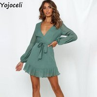 Günlük Elbiseler Yojoceli Sashes Yay Fırfır Kısa Elbise Kadın Sonbahar Zarif Mavi Mini Plaj Günlük V Boyun Parti