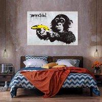 Maymun ve Muz Yağlıboya Tuval Üzerine Ev Dekor Handpainted / HD-Baskı Duvar Sanatı Resim Özelleştirme kabul edilebilir 2104295