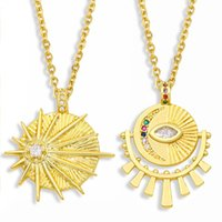 Turkish Evil Eye Necklace For Women White Stone Sun And Moon Pendant CZ Zirconia Female Party Jewelry Gift Nkes83 Necklaces