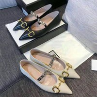 2021 Summer Nuova pelle Dress Dress Dresser Scarpe appuntita Moda Luxury Letter Size Brand Marca 100% Lady Flat Casual Metal 35- PXGBP