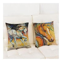 Hand Color Painting Horse Pillowcase Decorative Cushion Cover For Sofa Home Decor Cotton Linen Chair Pad Pillow Cases Cushion/Decorative
