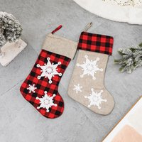 3D Kar Tanesi Damalı Noel Çorap Noel Ağacı Asılı Dekorasyon Süsler Şömine Gingham Çorap Şeker Hediye Çantası GWF8573