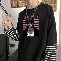 Erkekler T-Shirt Anime Benim Kahraman Academia Dabi Baskı Sahte İki Parça T Shirt Erkekler Harajuku Manga Komik Sad Boys Unisex Uzun Kollu Çizgili T-Shi