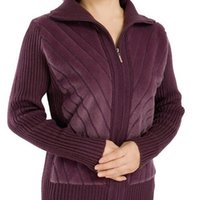 Women's Sweaters Casaco com zper gola aberta manga longa casual feminino inverno outono QLW7