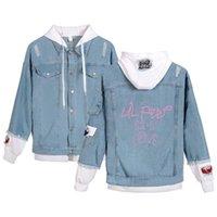 Women's Hoodies & Sweatshirts Lil Peep Hooded Denim Jacket For Women Casual Jeans Holes Vintage Harajuku Coat Female Loose Streetwear Basic