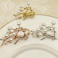 Napkin Rings 6pcs Gold Silver Elk Chic Pearls Metal Deer Holders Christmas Gifts Xmas Party Decorations