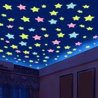 Wall Stickers 50pcs 3D Stars Glow In Dark Luminous Fluorescent Plastic Sticker Home Decor Decal Wallpaper Decorative Special Festivel