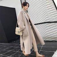 Womens Faux Wollmischungen Kap Lange Oberbekleidung Schwarz Koreaner Wollweinlese Weibliche Mantel Winter Weibliche Damenmäntel
