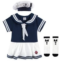 Baby Girls Sailor Costume Infant Halloween Navy Playsuit Fancy Dress Toddler Mariner Nautical Cosplay Outfit Anchor Uniform 210727
