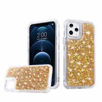 Estuches para teléfono de moda para iPhone 12 Mini 11 Pro 8 7 Plus x XR XS Max Bling Brillo brillante Brillante 3 en 1 cubierta de concha a prueba de golpes