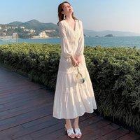 SMTHMA 2021 Yeni Varış Yaz Boho Kadınlar Maxi Elbise Beyaz Dantel Uzun Tunik Plaj Elbise Tatil Tatil Giysileri