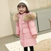 Down Coat Russia Winter Long Thick Jacket For Girl Clothes Hooded Parka Real Fur Toddler Kids Snowsuit Outerwear Clothing