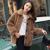 Imitação cordeiros lã pele pele inverno mulheres solta algodão veludo espessamento casaco feminino casaco feminino 210519