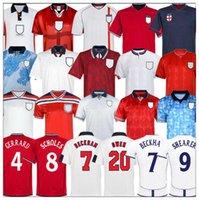 Retro 82 98 02 94 88 90 92 Português Jersey Jersey Shearer Gascoigne Gerrard Lampard Scholes Owen Keegan Jordi Beckham Rooney Futebol Camisa
