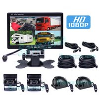 4x HD 1080P Auto voor / Zijkant / Achter Vie Reverse Backup Camera 4Pin IR Waterproof12V / 24V met 7 inch IPS 4CH Video-ingang LCD Split Monitor