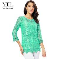 Yitonglian Ladies Vintage Allover Floral Lace Lace Crochet Tops Plus Size Summer Blusa per la lavorazione del partito Camicia Tunica Donne H244N Camicette da donna