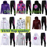 2021 2022 Adulto Hoodie Survectement Chandal Futbol Mbappe Jaqueta de Futebol Futebol Sobrevêtement 2020/21 Full Zipper Training Jacket Camisa Set