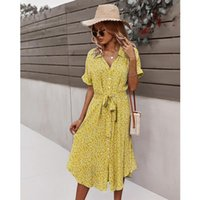 Dress Women Casual Short Sleeve 2021 Spring Button T Shirt Dresses For Womens Summer Holiday Style Sundress Printde Floral