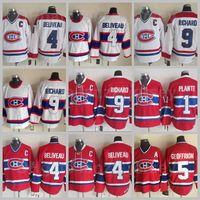 Vintage Classic Montreal Canadiens Gelo Hóquei 4 Jean Beliveau Jersey Retro CCM 1 Jacques Plante 5 Bernie Geoffrion 9 Maurice Richard Vermelho Branco