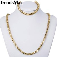 Earrings & Necklace JEWELRY SET 5mm Boys Mens Chain Bracelet Gold Tone Byzantine Box Stainless Steel Wholesale 48