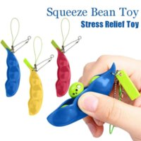 Fidget Toys Decompression Edamame Toy Push Squishy Squeeze Peas Beans Keychain Cute Stress Relief Rubber Sensory Gift WHT0228