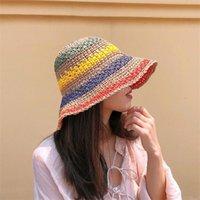 حافة واسعة القبعات 2021 الصيف المرأة دلو قبعة سترو صنع قوس قزح الكروشيه طوي الوالدين والطفل بنما الأطفال الإناث شاطئ الشمس قناع كاب