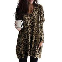 Jaycosin mujeres leopardo impresión blusa dobladillo blusas casual talla grande con cuello en v manga larga blusa bolsillo tops sueltos química femme 1108